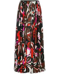 Emilio Pucci Pleated Printed Skirt - Rood