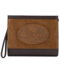 Etro Logo-embossed Pouch Bag - Brown