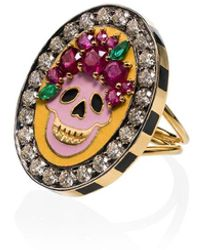Holly Dyment 18k Yellow Gold Skull Diamond And Ruby Ring - Metallic