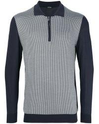 Kiton - Colour Block Polo Sweater - Lyst
