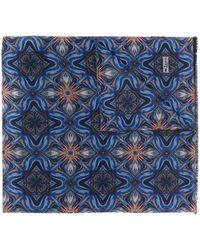 Kiton グラフィック プリント スカーフ - ブルー