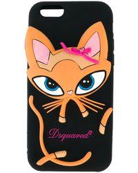 DSquared² Cover Iphone 6/6s Con Gatto - Black