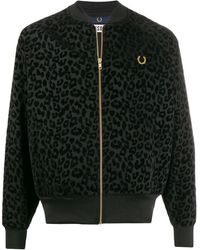 Fred Perry Miles Kane Lepoard Track Jacket - ブラック