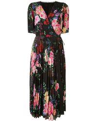 Marchesa notte - Платье С Запахом И Цветочным Принтом - Lyst