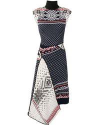 Marine Serre - Платье Асимметричного Кроя С Контрастными Вставками - Lyst