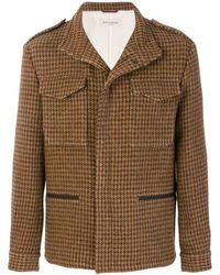 Al Duca d'Aosta Houndstooth Military Style Jacket - Bruin
