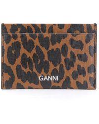 Ganni カードケース - ブラウン