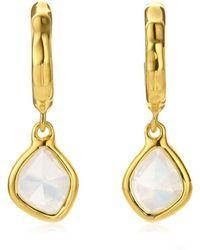 Monica Vinader Siren Mini Nugget Hoop Moonstone Earrings - Metallic