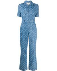 Sandro Combinaison en jean à motif en jacquard - Bleu