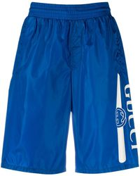Gucci Long Swim Shorts With Logo - Blue