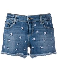 Liu Jo Star-embroidered Denim Shorts - Blue