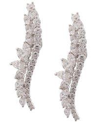 YEPREM 18kt White Gold Diamond Ear Climbers - Metallic