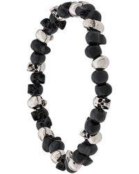 Alexander McQueen Beaded Skull Bracelet - Metallic