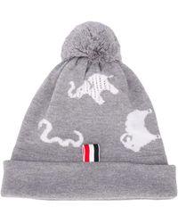 Thom Browne Animal Intarsia Merino Wool Hat - Gray
