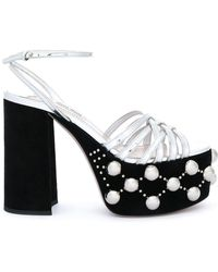 Miu Miu Faux Pearl Embellished Sandals - Metallic