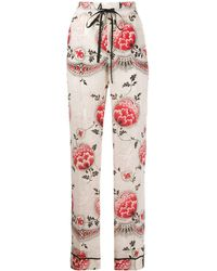 RED Valentino Floral-print Pyjama-style Pants - Multicolor