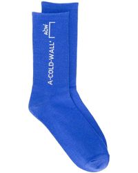 A_COLD_WALL* Logo Knit Socks - Blue