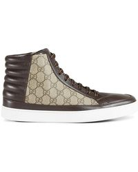9504da281878 Lyst - Gucci Beige Gg Canvas And Cocoa Leather High-top Sneakers in ...
