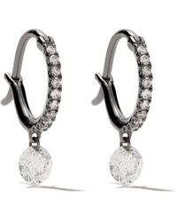 Raphaele Canot 18kt black gold Set Free Diamond mini hoops - Noir