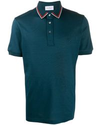 Ferragamo ストライプトリム ポロシャツ - ブルー