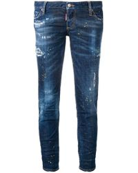 DSquared² - Skinny-Jeans mit Farbklecks-Print - Lyst