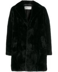 Saint Laurent Single Breasted Long Coat - Black
