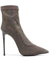 Le Silla Gilda 100mm Crystal-embellished Sock Court Shoes - Grey
