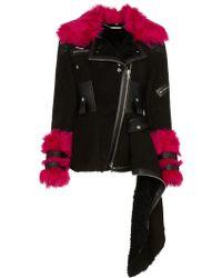 Alexander McQueen Shearling Asymmetric Biker Jacket - Zwart