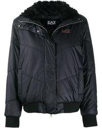 EA7 キルティング パデッドジャケット - ブラック
