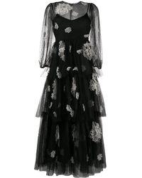 RED Valentino Vestido con tul y bordado floral - Negro
