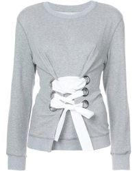 10 Crosby Derek Lam | Crewneck Sweatshirt With Lacing Detail | Lyst