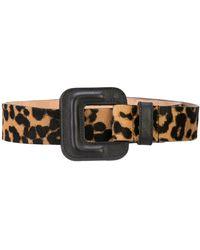 Veronica Beard Leopard Print Belt - Brown