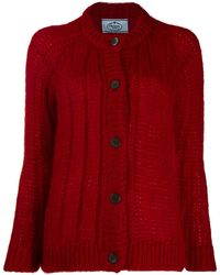 Prada Chunky Knit Cardigan - Red