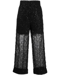 Self-Portrait - Sequinned Lace Trousers - Lyst