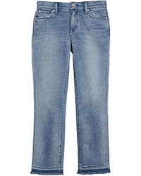 Burberry Slim Fit Frayed Cropped Jeans - Blue