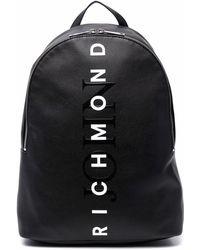 John Richmond Faux-leather Logo-print Backpack - Black