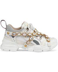 Gucci Flashtrek Sneakers Met Afneembare Kristallen - Wit