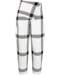 Stella McCartney Checked High-rise Trousers - White