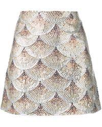 Oscar de la Renta Embellished Fan Skirt - Metallic