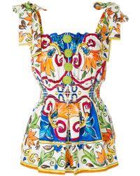 Dolce & Gabbana Majolica Printed Blouse - Blue