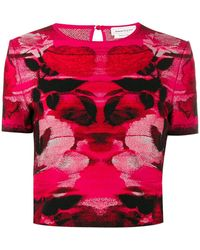 Alexander McQueen Intarsia Knitted Top - Red