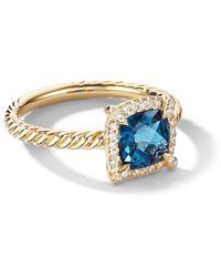 David Yurman Petite 18kt Chatelaine Gelbgoldring mit Diamanten - Blau