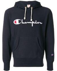 Champion Logo Embroidered Hoodie - ブルー