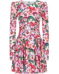 Dolce & Gabbana Vestito corto a fiori - Viola