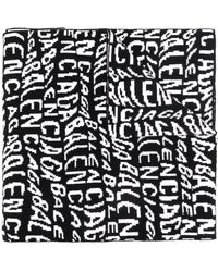 Balenciaga Gebreide Sjaal Met Logo - Zwart