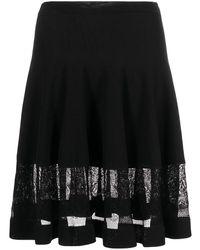 Alexander McQueen シアーパネル フレアスカート - ブラック