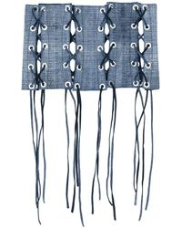 Manokhi レースアップ装飾 ベルト - ブルー