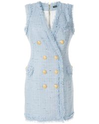 Balmain - Double Breasted Mini Dress - Lyst