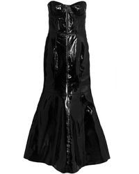 Natasha Zinko Strapless Fitted Leather Gown - Black