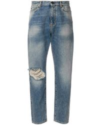 Official For Sale distressed mum jeans - Grey Saint Laurent Low Price Fee Shipping With Paypal Cheap Price 99DrTwJIe